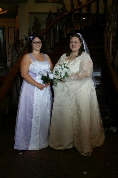 Me and Rebekah on my wedding day (Hair done by her on my day)